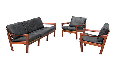 Danish modern teak sofa + chairs design Illum Wikkelso 60s 70s