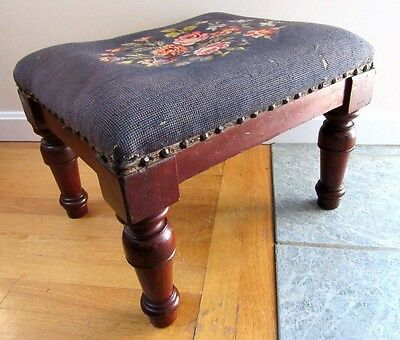 Big Antique Mahogany Footstool Needlepoint Upholstery Country Primitive Ottoman
