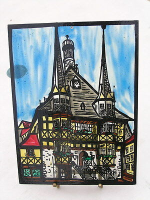 Vintage Stained Painted Glass Panel Sun Catcher Alps Swiss European House Church