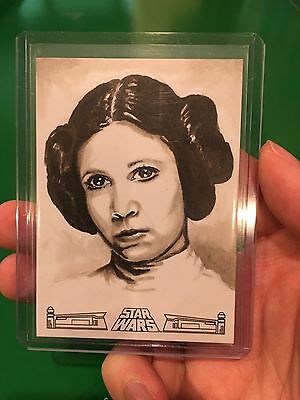 Topps Star Wars 40th Anniversary Princess Leia sketch card by Utterstrom 1/1
