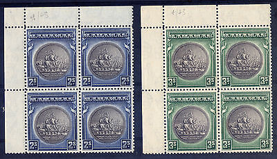 BAHAMAS KG6th 1943 2/= & 3/=, TOP LEFT CORNER MARGIN BLOCK 4, SUPERB M/N/H
