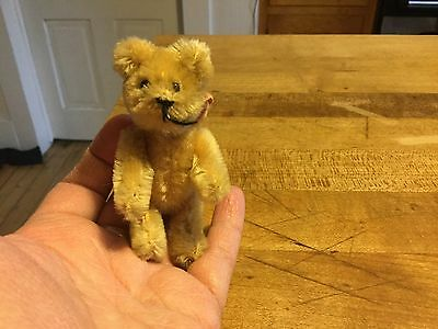 Vintage Schuco German Miniature Jointed Gold Mohair Bear Excellent Condition 3""
