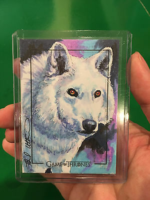 Rittenhouse Game of Thrones 6 Ghost dire wolf sketch card by Utterstrom 1/1 AP
