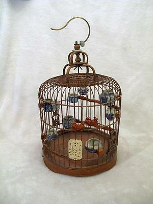Vintage BAMBOO Bird Cage w/Carvings + Blue & White MING Dynasty Pots