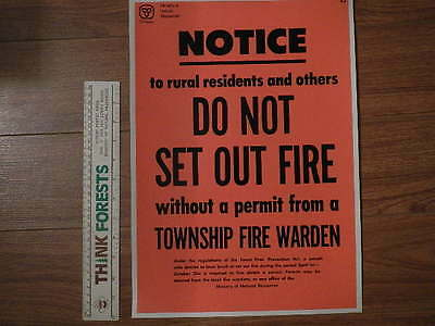 Vintage Forest Fire Prevention Poster - Notice Rural Res.No Fire Without Permit-