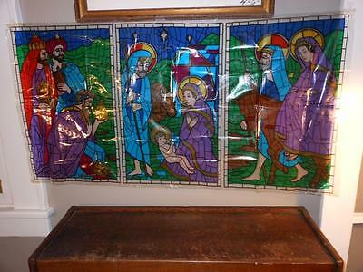 VTG 1962 CRYSTOCOLOR FAUX STAINED GLASS Window Display CHRISTMAS NATIVITY Jesus