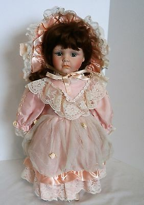 18 inch Tall Victorian Style Porcelain Doll With Display Stand Adult Owned