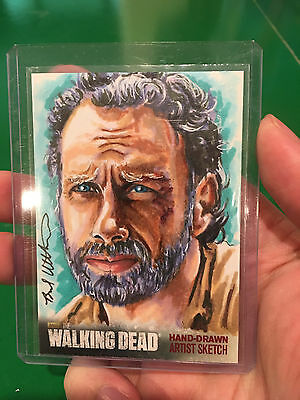 Andrew Lincoln as Rick Grimes Walking Dead sketch card by Utterstrom 1/1 AP