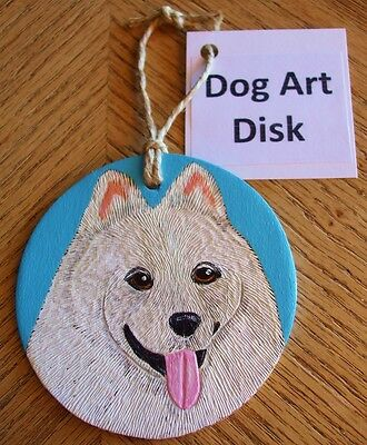 """Samoyed Dog Art 3"""" Disk Woodburned Hand-Painted Plaque Ornament Wood Carving"""