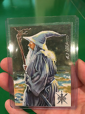 Ian McKellen as Gandalf Hobbit Bo5A sketch card by Utterstrom 1/1 AP cryptozoic