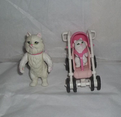 Barbie Doll Pet Mama Cat and Baby Kitten in Stroller for Diorama