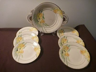Very Rare......Phoenix Ware Daffodil serving plate and 6 side plates