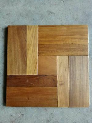 Teak Tile Parquet Flooring Solid Wood flooring Click System Oiled Floor Tile Art