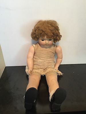 """VINTAGE COMPOSITION & CLOTH  BODY Aprox 28"""" SHIRLEY TEMPLE DOLL UNMARKED MAKER"""
