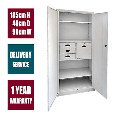 2 Door 4 Drawer Office Filing Cabinet Locker Steel Storage Cupboard File Statio