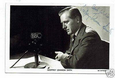 Geoffrey Johnson Smith Politician & TV Presenter Hand Signed photograph 5 x 3