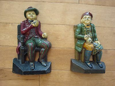 two early 1900s antique cast iron english men drinking door stops great patina