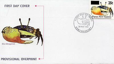 PNG 1995  OVERPRINT 25t ON 65t CRAB FIRST DAY COVER