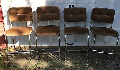 4 Vtg Daystrom Mid Century Modern Chrome Bar Stools Hollywood Regency Bent Tube