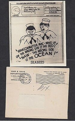 Original WWII V Mail SeaBees Cartoon with envelope post marked Jun 1945 see scan