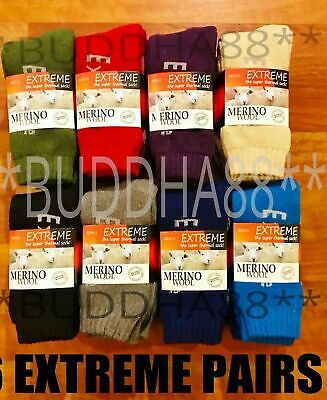 6-Pairs Extreme Super Thermal Merino Extra Thick Wool Work Hiking Socks  6-10