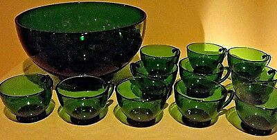 Vintage Forest Green Glass Bowl & cups Lot of 12 Punch Bowl & 4 oz. Cups A. H.