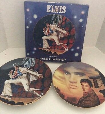 "ELVIS TWO COLLECTOR PLATES ""HEARTBREAK HOTEL"" & In Concert  "" ALOHA FROM HAWAII"""