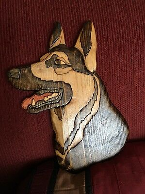 Intarsia German Shepherd Dog  Wood Carving Wall Plaque