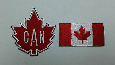1+1 pc IRON-ON CANADA MAPLE LEAF & FLAG EMBRO. PATCHES