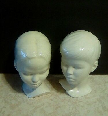 2 ceramic vintage boy and girl busts