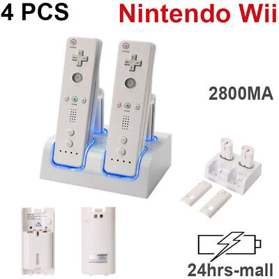 For Nintendo WII Remote Controller Dual Dock Charger Station + 4X Battery White