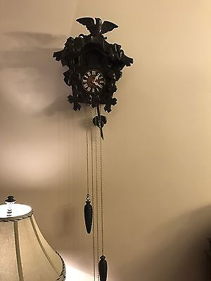 Vintage Mi-Ken Black Forest Style One Day Cuckoo Clock Works Perfect