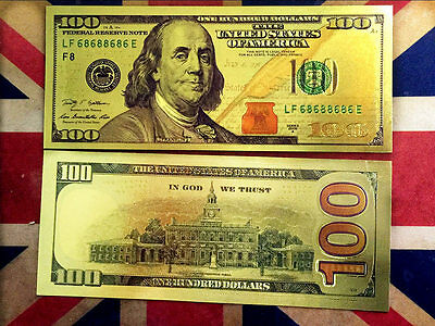 50PCS 24K USA Gold Foil Dollars $100 Collections Banknotes Home Decor Arts Gifts