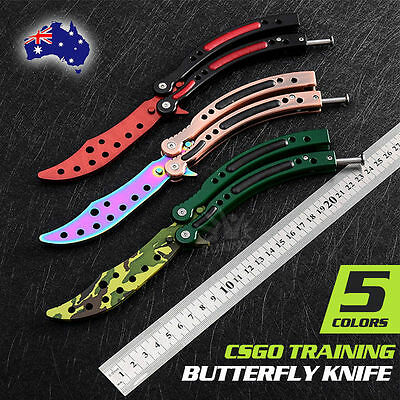 CSGO Folding Balisong Butterfly Knife Trainer Training Practice Metal Steel Tool