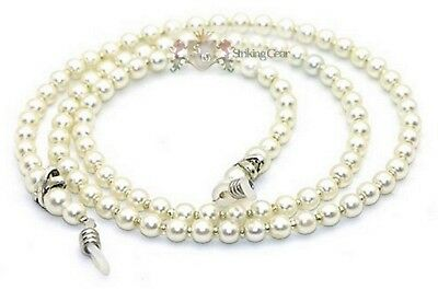 Glasses Cord Chain Strap - Handmade Small White Pearls Design Beads Silver X ~UK