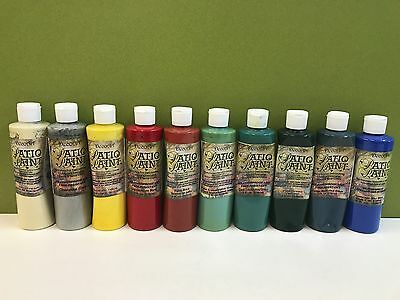 10 x Asst colours DecoArt Patio Paint 8 oz bottles - Bargain Bulk Clearance