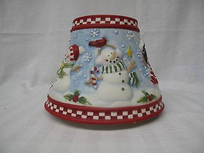 YANKEE CANDLE Christmas Large Merry Snowman Scene Ceramic Shade -New