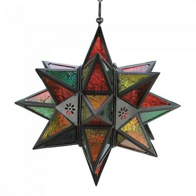 SMRT-34690-Gifts & Decor Moroccan Style Star Shaped Candle Lantern, Metal Glass