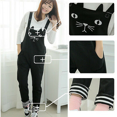 Maternity Overalls Dungarees Pants Trousers Cute Cat Turn-ups Style Comfy M/L/XL