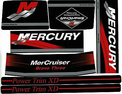 Mercruiser Bravo Three  Decals  W/red Rams Sticker Set