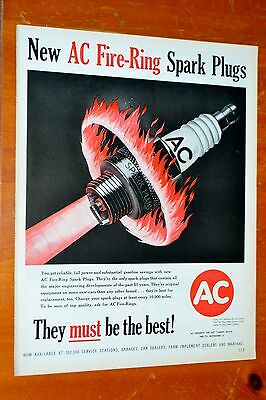 Awesome 1959 Ac Fire Ring Spark Plugs Vintage Ad - American Cool Fifties 50S