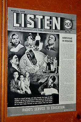 Extensive 1939 Rca Victrola 5 Page Radio Ad / Article Used In Education - 1930