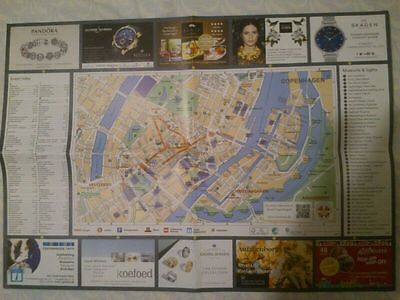 COPENHAGEN city map with museums, sights with lines of S-train & Metro