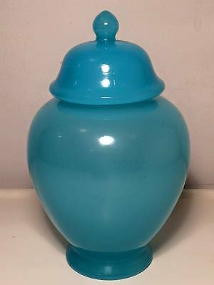 Fenton peking blue glass temple jar