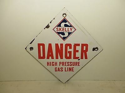 12x12 original Skelly Oil Co. porcelain sign Rare Danger high pressure gas line