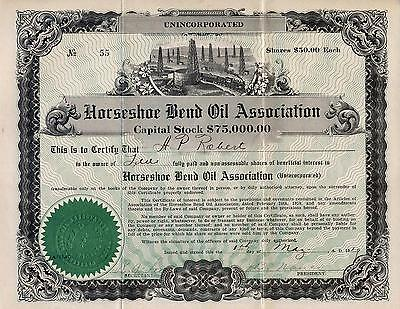 HORSESHOE BEND OIL ASSOCIATION STOCK CERTIFICATE w/check to buy stock 1919