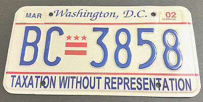 2002 District Of Columbia Bc-3858 Taxation Without Representation License Plate