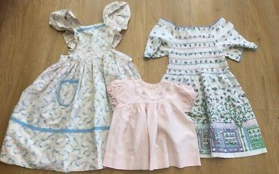 3 Original 1980s Girls Baby Dresses