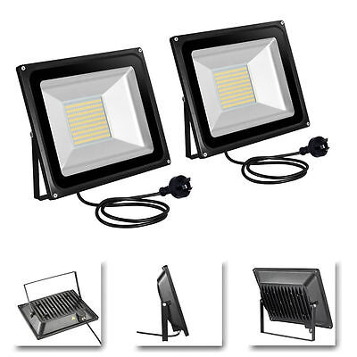 2X 100W LED Flood Light Warm White IP65 SMD Outdoor Garden Lamp 220-240V AU Plug