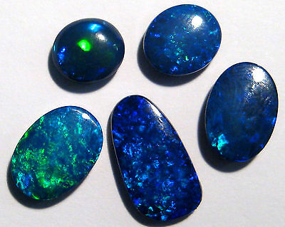 5 Australian Lightning Ridge Opal Doublets, bright blues and greens